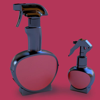 Two plastic trigger spray bottles in black and purple on purple background