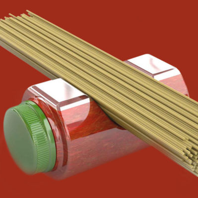 Spaghetti sauce bottle with green cap and built-in spaghetti measurement tool on red background