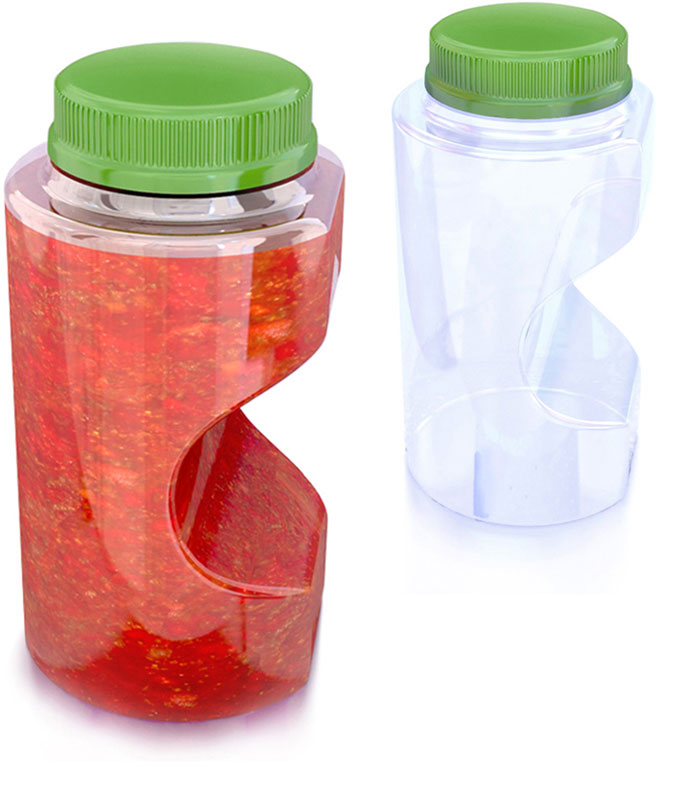 Two spaghetti sauce bottles with measurement tool - one full and one empty