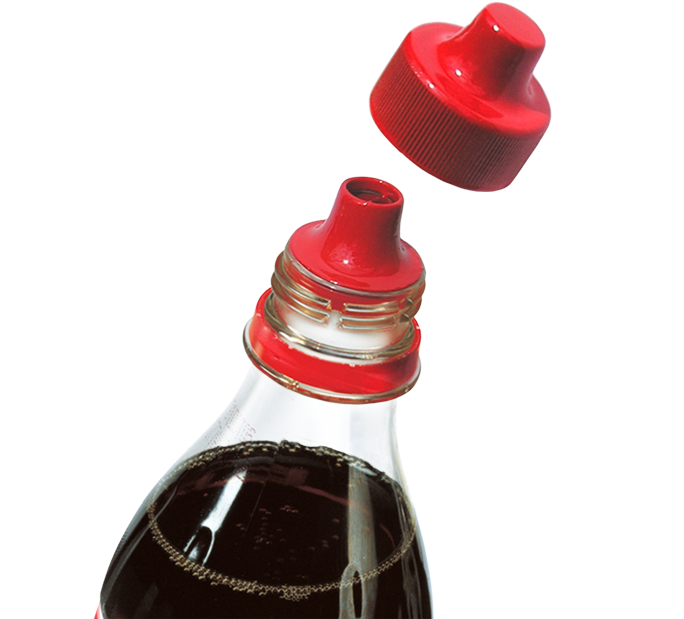Resealable drinking spout on bottle with fizzy drink