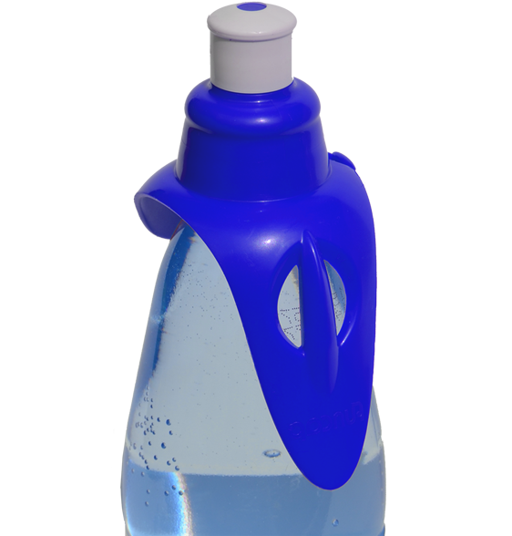 Blue hands-free drinking spout on a water bottle