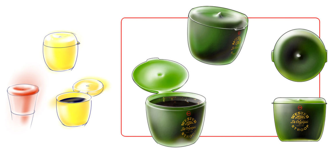 Sketches of apple syrup container in red, yellow and green