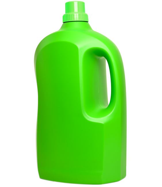 Large bright green plastic bottle with grip hole